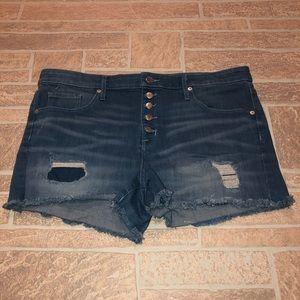 High Rise 16 Button Fly Shorts Distressed Mossimo